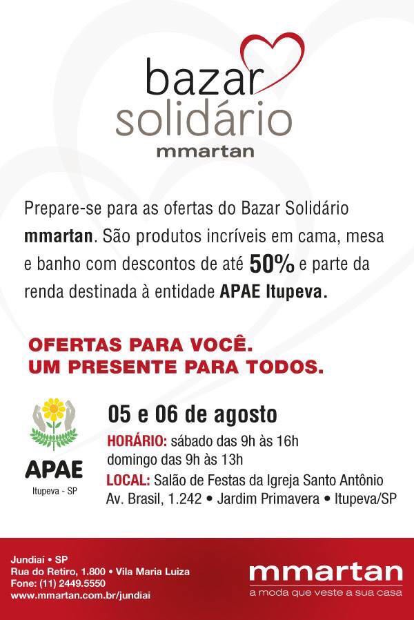Bazar Solidário mmartan -  APAE de Itupeva