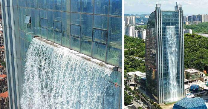 China constrói cachoeira de 105 metros de altura em um prédio